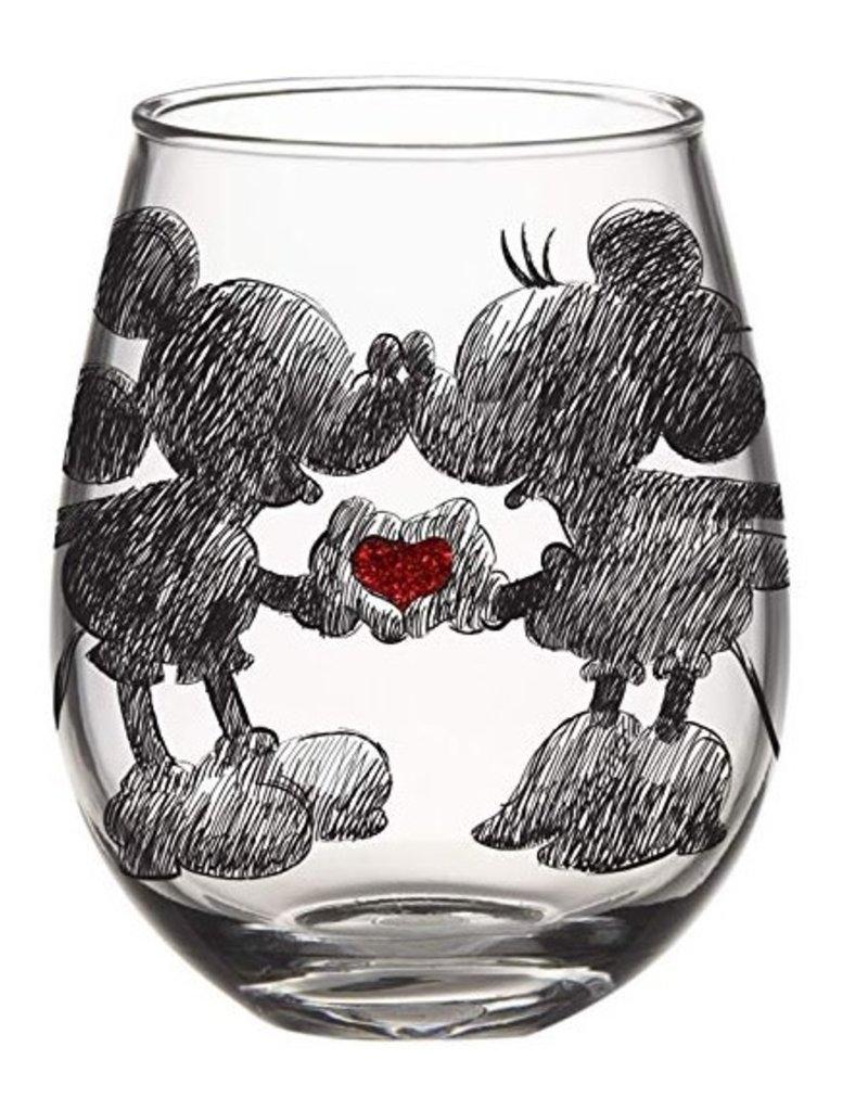 SILBUF DISNEY CLASSIC HEART HANDS GLITTER BOXED 20oz STEMLESS GLASS
