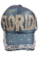 DENIM RHINESTONE FLORIDA HAT