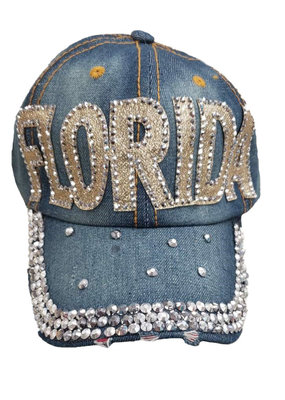 DENIM RHINESTONE FLORIDA HAT