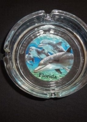 BLUE GLASS ASHTRAYS-DOLPHIN DESIGN