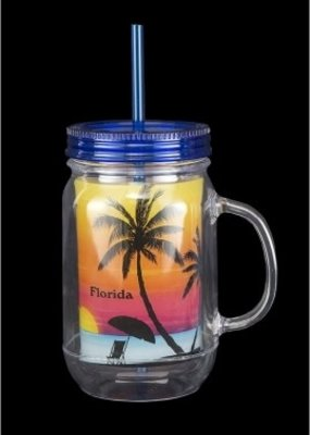 BLUE MASON JAR TUMBLER-SUNSET DESIGN