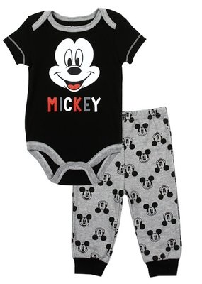 PKW MICKEY MOUSE BOYS NEWBORN 2PC CREEPER PANT SET