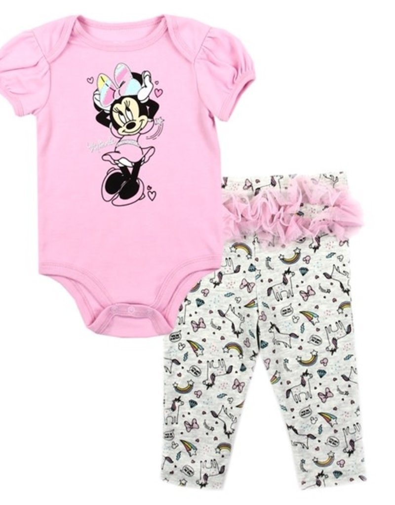 PKW MINNIE MOUSE GIRLS NEWBORN 2PC CREEPER PANT SET