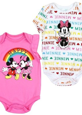 PKW MICKEY/MINNIE MOUSE GIRLS NEWBORN 2-PACK CREEPERS