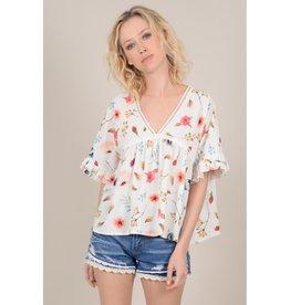 04f56438 Molly Bracken Floral Boxy Top WHT