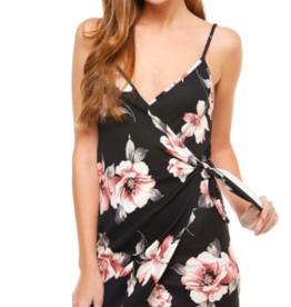 Miley & Molly Floral Wrap Style Dress BLK/MAU