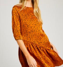 Wishlist Dot 3/4 Sleeve Mini Dress RUST
