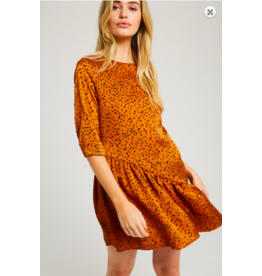 Wishlist Dot 3/4 Sleeve Mini Dress RUST
