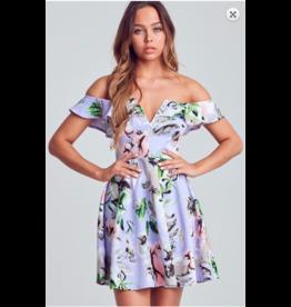 Blue Blush Floral Off Shoulder Skater Dress LIL