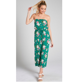 Blue Blush Floral Strapless Jumpsuit GRN