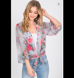 1 Style in USA 3/4 Slv Floral Chiffon Kimono GRY