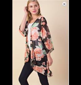 1 Style in USA 1 Style Floral Chiffon Kimono BLK
