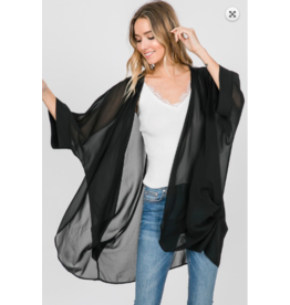 1 Style in USA 3/4 Sleeve Pleat Kimono BLK