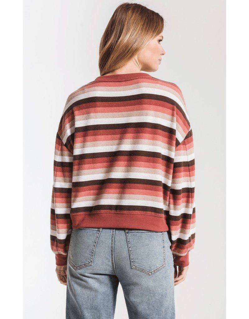 Z Supply Rainbow Stripe Pullover RED