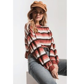 Z Supply Rainbow Stripe Pullover RED