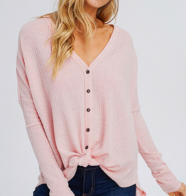 1 Style in USA Button Front Waffle BLUSH