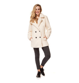 Dex Double Breasted Sherpa Jacket WHT