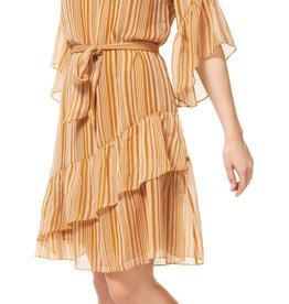 Dex 3/4 Sleeve Shadow Stripe Ruffle Dress GLD