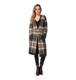 Dex Plaid 1 Button Coatigan GRN