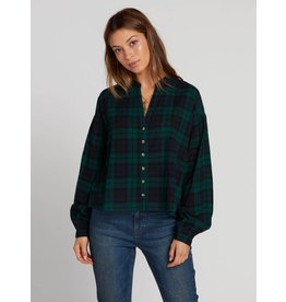 Volcom Untamed Feels Plaid Top GRN