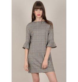 Molly Bracken Plaid Ruffle Sleeve Dress BRN