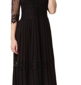 Dex 3/4 Sleeve Lace & Pleat Dress BLK