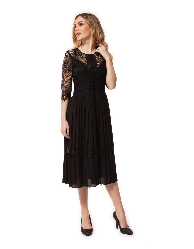 Dex 34 Sleeve Lace Pleat Dress Blk