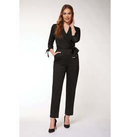 Dex 3/4 Sleeve Wrap Jumpsuit BLK