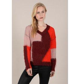 Molly Bracken Asymmetrical ColorBlock Sweater RED
