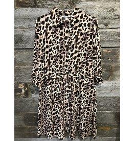 Dex Plus 3/4 Sleeve Button Front Shirt Dress LEO