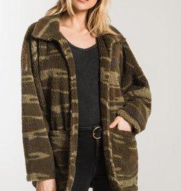 Z Supply Camo Sherpa Teddy Coat GRN