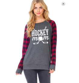 Zutter Hockey Mom Plaid Sleeve Top GRY