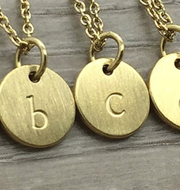 JJ & RR Monogram Disk Lower Case Necklace