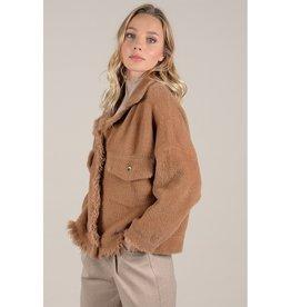 Molly Bracken Fuzzy Short Jacket BRN