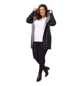 Dex Plus Check Open Hooded Cardi NVY