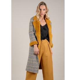 Molly Bracken Fur Lined Plaid Coat Saffron
