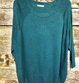 Dex Plus 3/4 Slv Round Hem Sweater PINE
