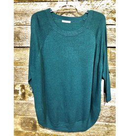Dex Plus 3/4 Slv Round Hem Sweater PINE