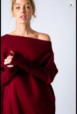 &Merci Plush Off Shoulder Sweater BURG