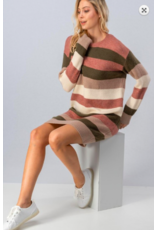 Trend:Notes Striped Sweater Dress OLV/PNK