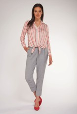 Black Tape Stripe Tie Front Blouse RED