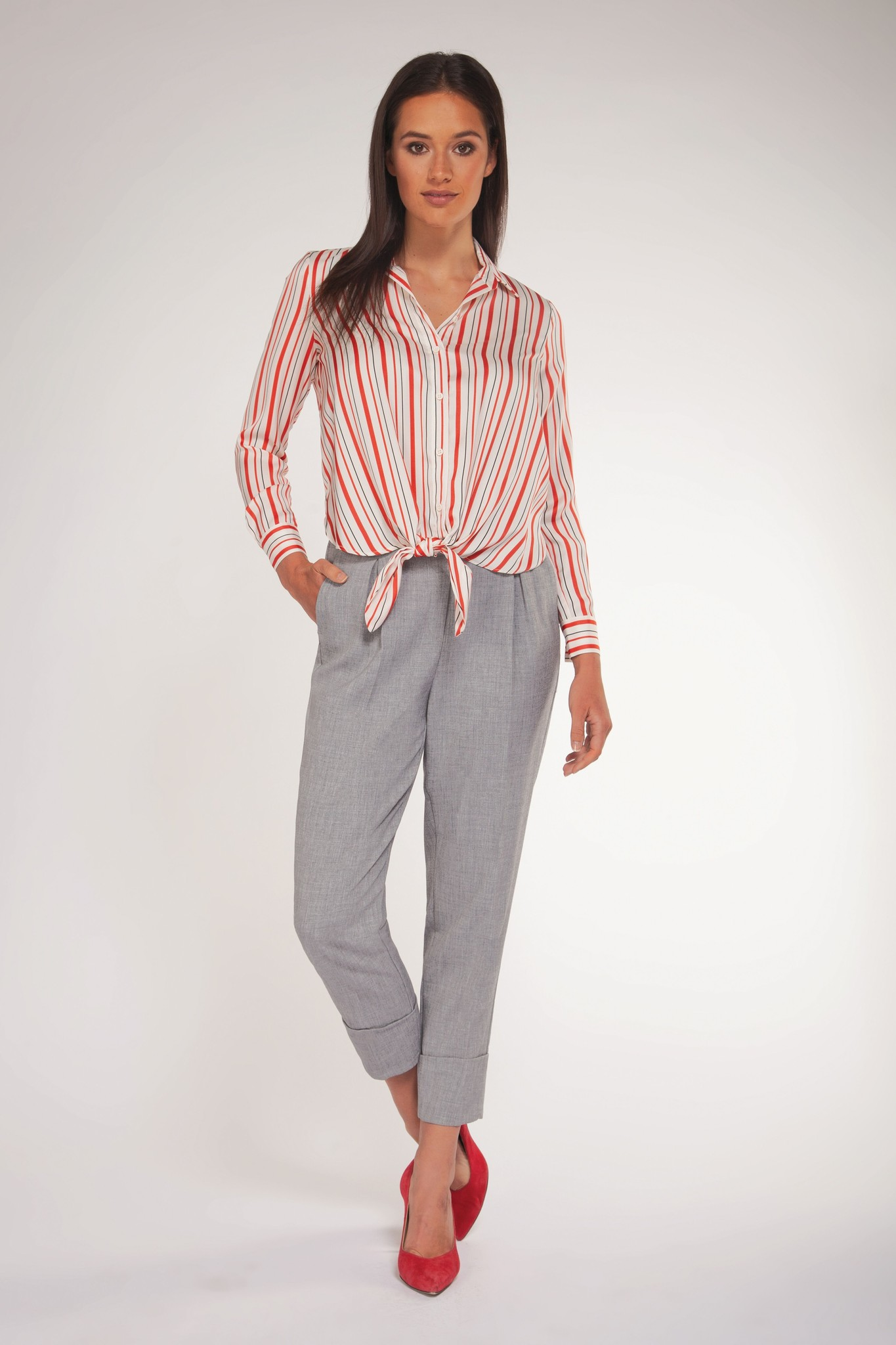 Stripe Tie Front Blouse RED-1