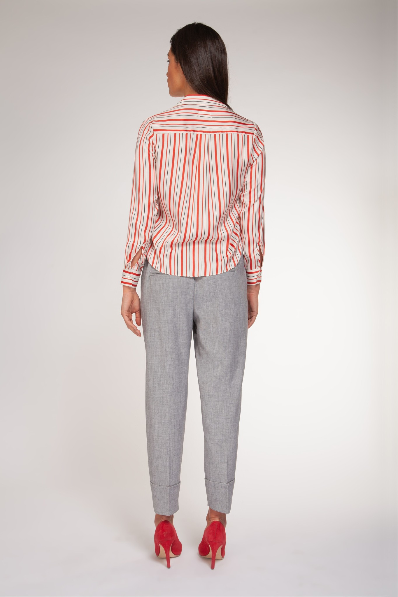 Stripe Tie Front Blouse RED-2