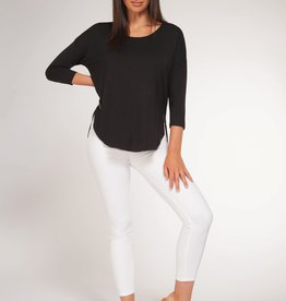 Black Tape 3/4 Sleeve Scoop Neck Top BLK