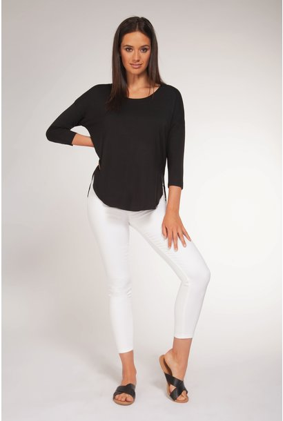 3/4 Sleeve Scoop Neck Top BLK