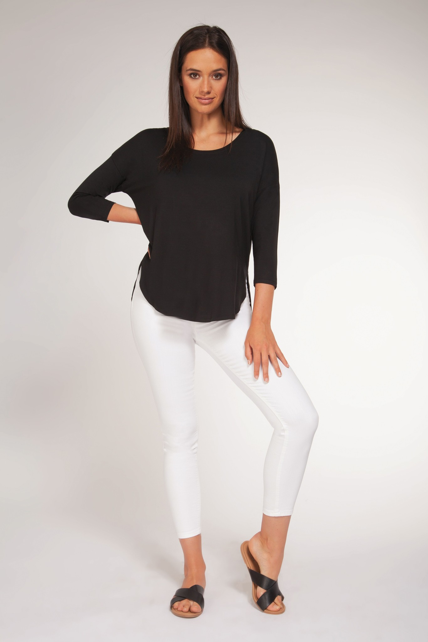 3/4 Sleeve Scoop Neck Top BLK-1