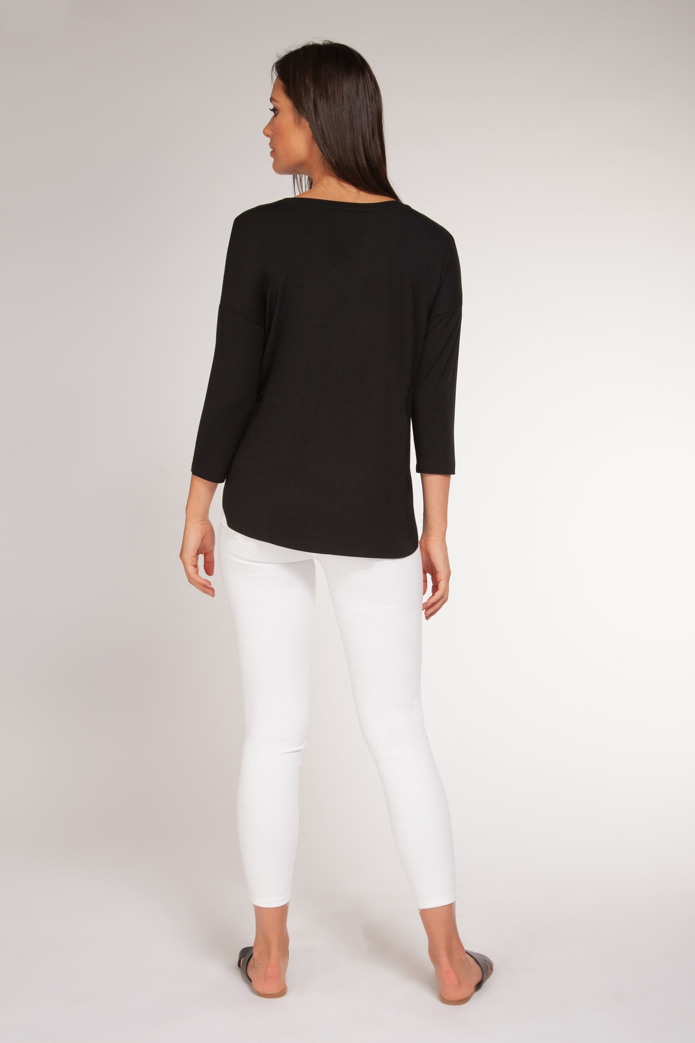 3/4 Sleeve Scoop Neck Top BLK-2