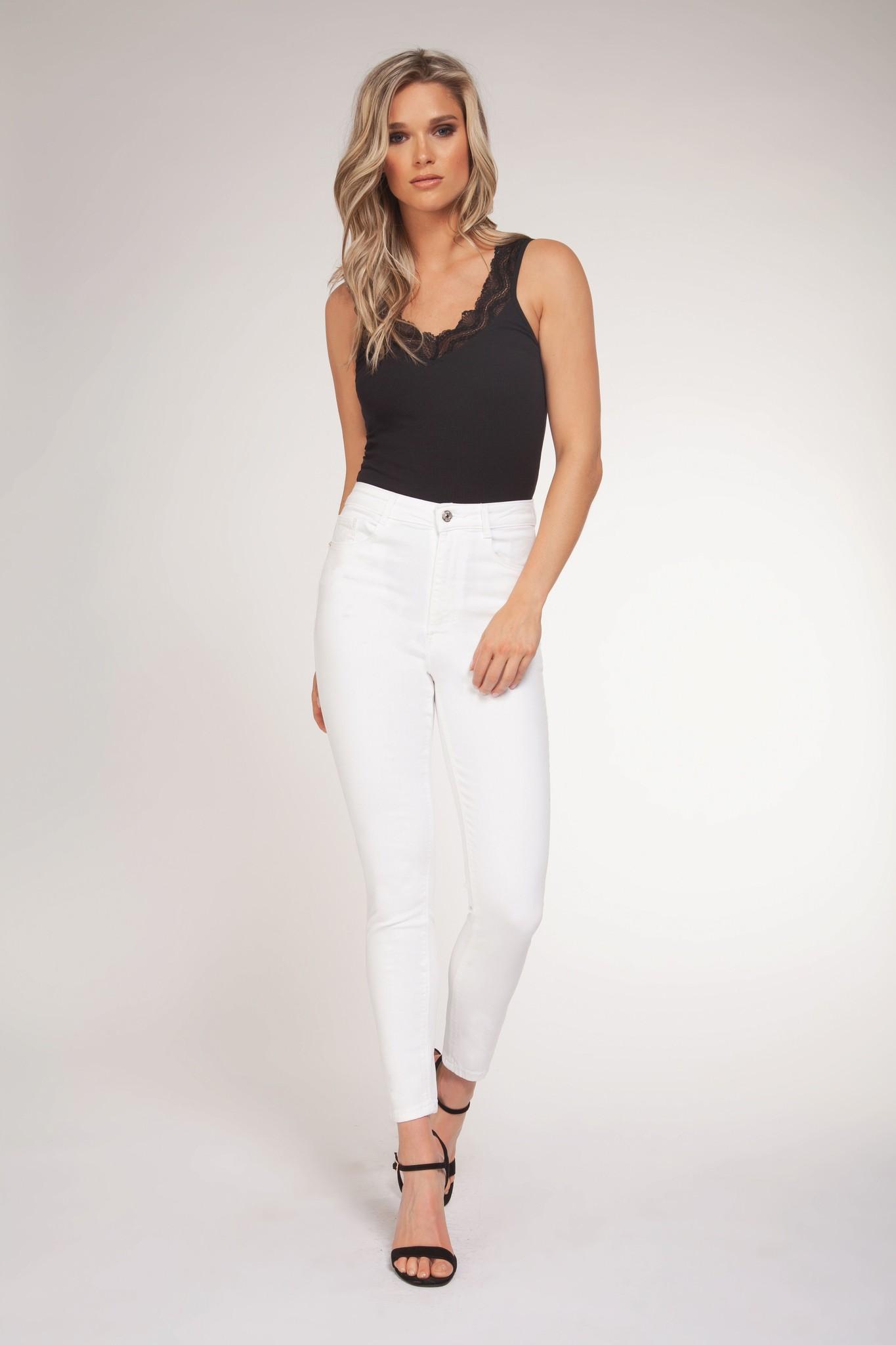 Lace Trim Bodysuit BLK-1