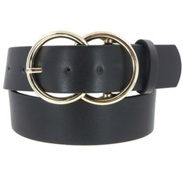 Girly Double Circle Belt BLK