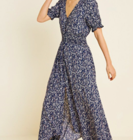 Hayden Floral Ruch Waist Maxi Dress NVY